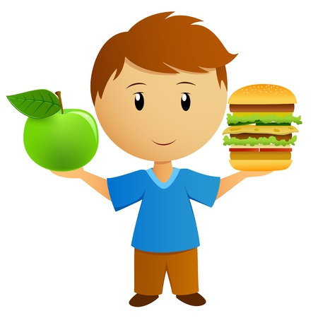 leaf lettuce: Young men with apple and hamburger  Vector illustration
