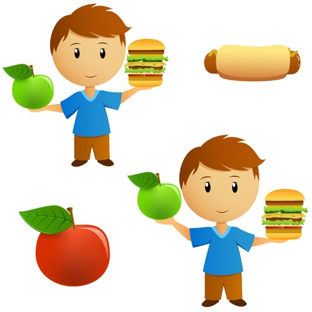 Set of young men with apple and hamburger choice  Vector illustration  Illustration