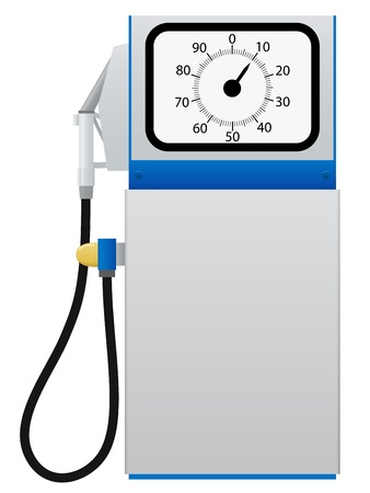 surtidor de gasolina: Antigua estación bomba de combustible aislado en blanco ilustración vectorial de fondo
