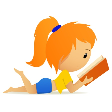 Pretty relaxed teenage girl in blue shorts reading book  Vector illustration  Illustration