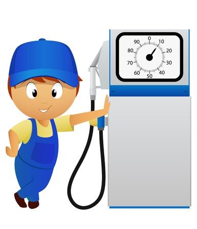 old service station: Serviceman con la vecchia stazione di pompa del carburante isolato su sfondo bianco illustrazione vettoriale