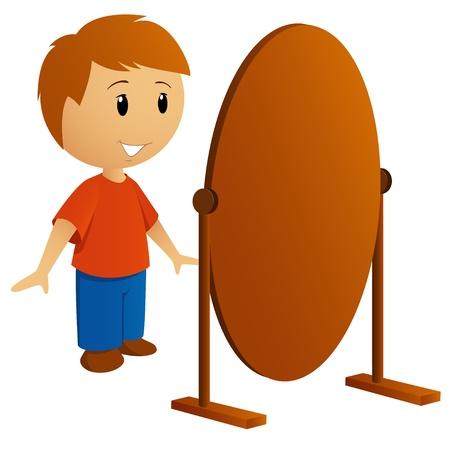 鏡ベクトル イラストで赤シャツの若い男  イラスト・ベクター素材