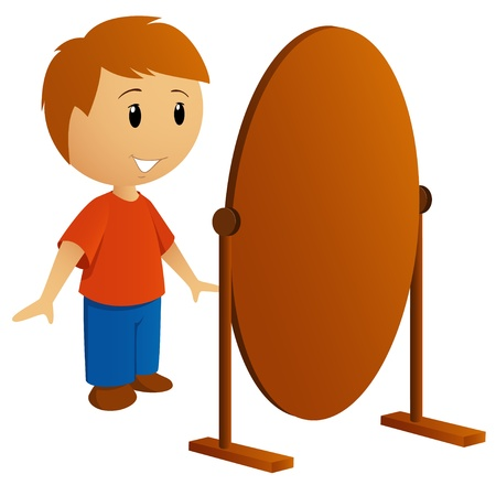Young man in red shirt looking in the mirror Vector illustration