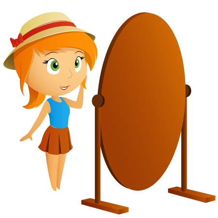 Beautiful girl looking at her reflection in mirror  Vector illustration