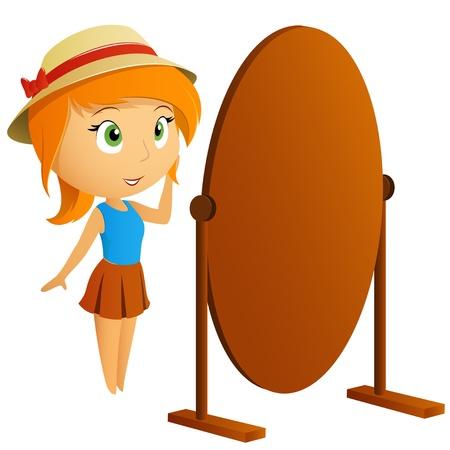 Cô gái xinh đẹp nhìn vào phản chiếu của mình trong gương Vector minh họa
