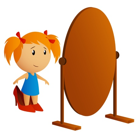 pigtails: Beauty little girl looking in the mirror trying on big shoes  Vector illustration