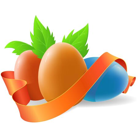 Easter egg with ribbon and green leaf  Vector illustration