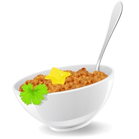 cereales: Alforf�n en el plato con la cuchara y el perejil ilustraci�n vectorial