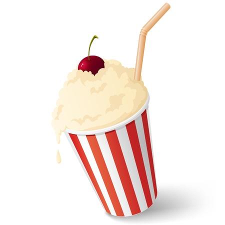 Melk cocktail met kersen en stro in gestript kartonnen beker illustratie