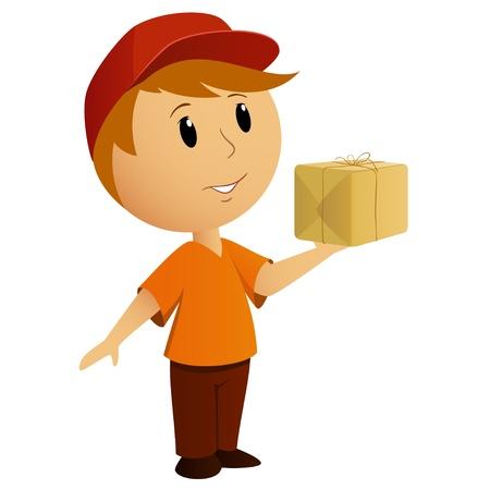 パッケージと漫画の配達の少年