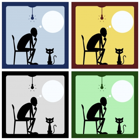 thinker: Concept of thinking man with cat silhouette