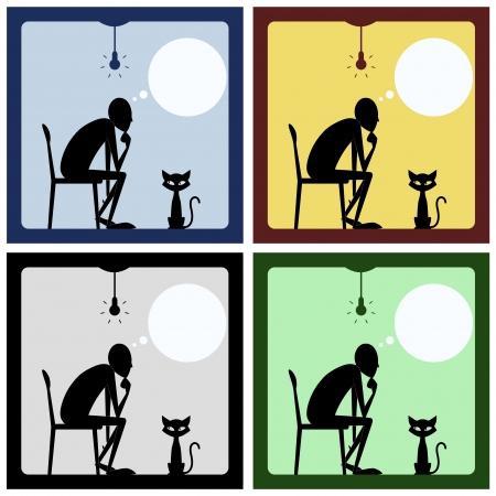 pensador: Concepto de hombre que piensa con la silueta del gato