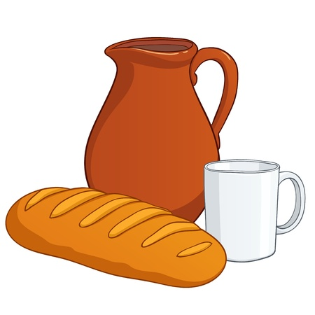 Cartoon earthenware with milk and white long loaf  Vector illustration