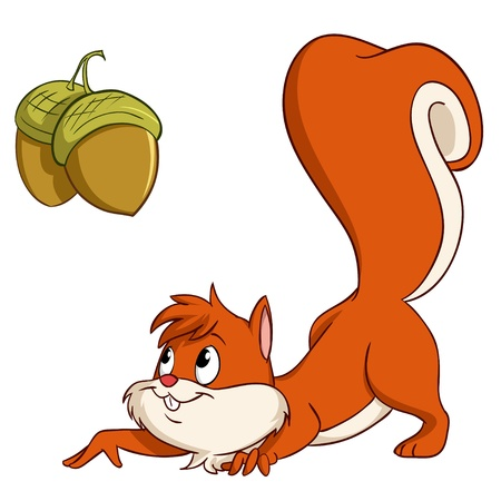 Cute cartoon squirrel sneak up to nuts  Vector illustration  Illustration