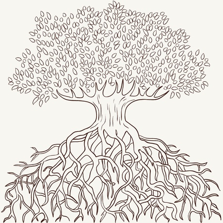 Abstract tree with branches and roots silhouette isolated  Vector