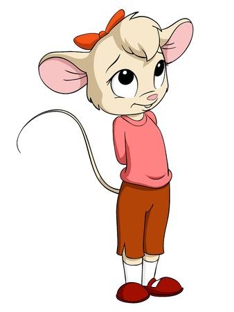 핑크 블라우스 벡터 그림 만화 작은 마우스 여성 일러스트