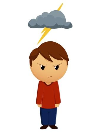 dark cloud: Vector ilustraci�n muchacho enojado con nube negra encima