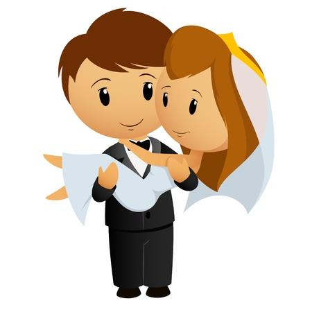 Vector hình minh họa Cartoon chú rể mang cô dâu ôm cô trong vòng tay của mình