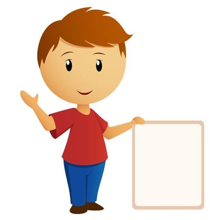 空のバナーのプラカードと赤いシャツのベクトル イラスト挨拶少年