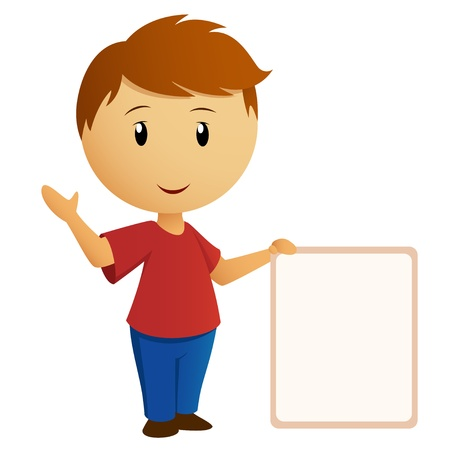 hand holding paper: Vector illustration  Greeting boy in red shirt with empty banner placard