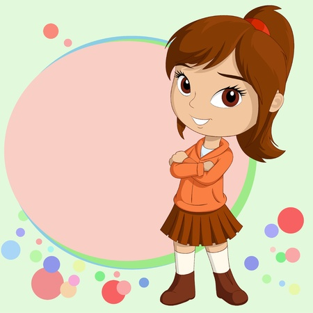 Vector illustration of Cute smiling little girl standing with empty text field on background
