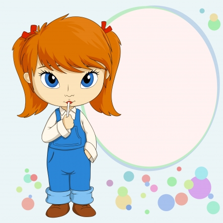 country girl: Vector illustration of Cute little country girl standing with candy Illustration