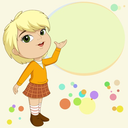 Vector illustration of cute blonde little girl present with empty text field on background Illustration