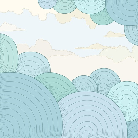Vector illustration  Abstract vector background with circles and clouds Illustration