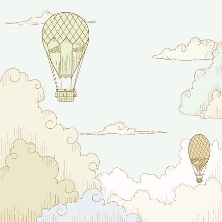 Vector illustration  Abstract vector background with balloon and clouds