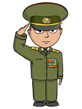 Military cartoon man in outfit salutes  Vector illustration