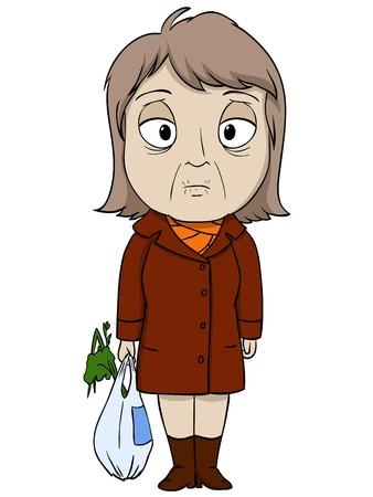 personas mayores: Mujer de la historieta de edad en capa marrón ánimo triste ilustración vectorial