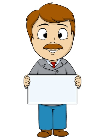 Cartoon young man with empty board  Vector illustration  Illustration