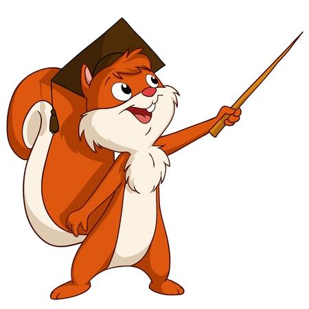 furry animals: Ardilla de la historieta en sombrero de graduado con puntero ilustración vectorial Vectores