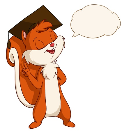 Cartoon squirrel in graduated hat with talk bubble  Vector illustration