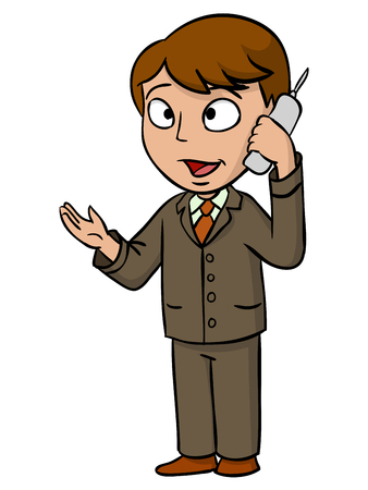 Cartoon businessman talking with cell phone  illustration