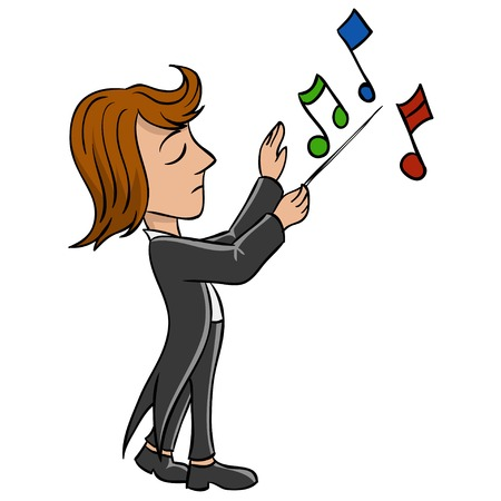 conductor: Cartoon conductor in black tailcoat with notes  illustration