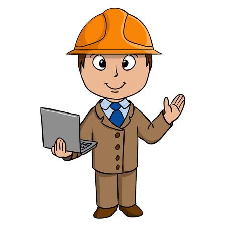 computer engineer: Cartoon engineer in helmet with notebook  illustration