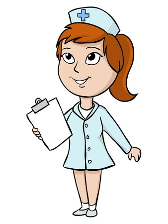 females: Cartoon cute nurse with blank tablet  illustration