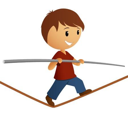 Jongen in rood shirt evenwicht op het touw Vector illustratie