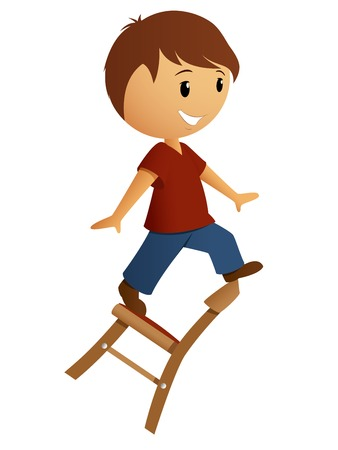 Boy in red shirt balance on the chair  Vector illustration  Illustration