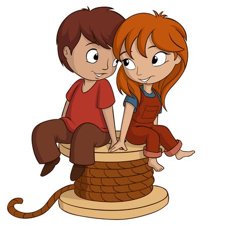男の子と女の子はハート型少年に座っていると女の子が白い背景ベクトル図にハート型に座っています。