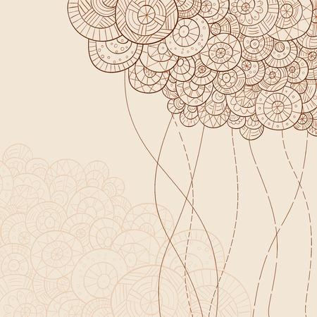 テキストのベクトルのイラストレーターのモノクロの抽象的な手描き背景