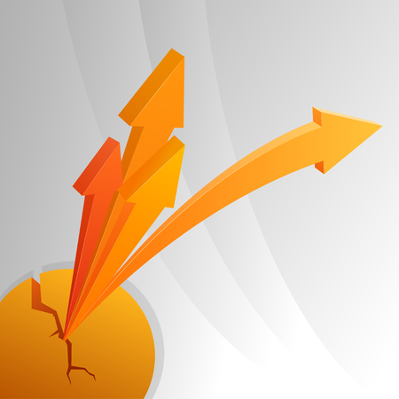Orange abstract arrows from crack sphere  Vector illustration