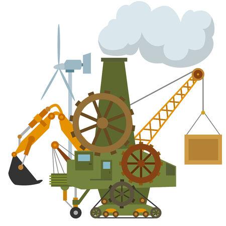 Universal cartoon machine tractor crane gear  Vector illustration