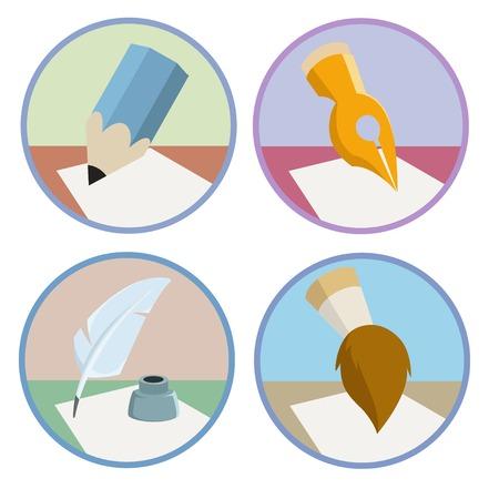 Set of the pen pencil brush icons  Vector illustration  Ilustracja