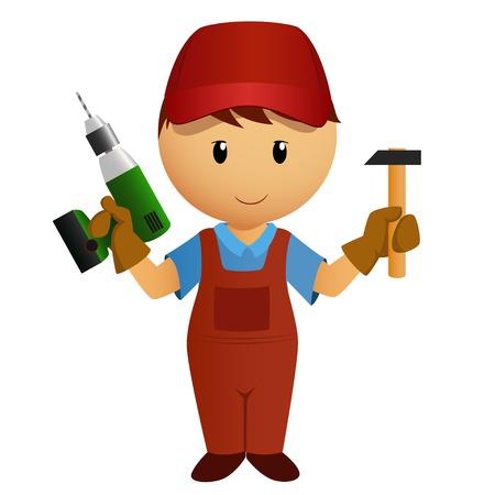 Vector illustration  Cartoon handyman with hammer and battery drill
