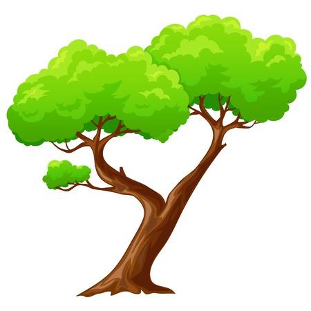 漫画の孤立したハート形の白い背景の上のツリー  イラスト・ベクター素材