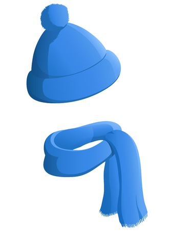 白い背景で隔離のスカーフと青い冬の帽子。ベクトルの図。  イラスト・ベクター素材