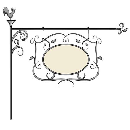錬鉄は、昔ながらのデザインを標識します。ベクトルの図。  イラスト・ベクター素材