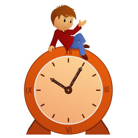 ビンテージの時計の上に座って男の子を漫画します。ベクトルの図。  イラスト・ベクター素材